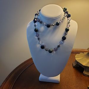 Clear and Blue Beaded Long Necklace